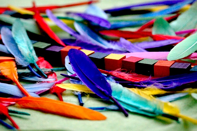 colorfull feathers with cubes